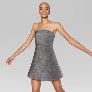 Wild Fable Strapless Knit Metallic Bodre Dress